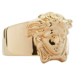 new VERSACE Palazzo Medusa head gold plated signature simple band ring 11