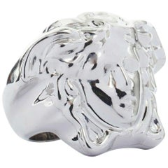 new VERSACE Palazzo Medusa head silver plated brass large statement ring 11.75