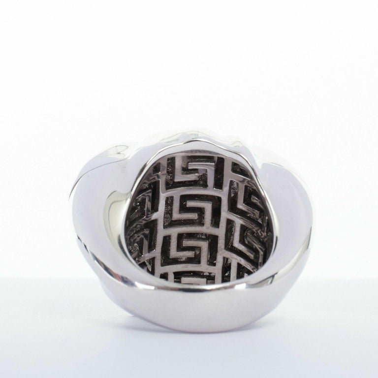 new VERSACE Palazzo Medusa head silver plated brass large statement ring 8.5 For Sale 1