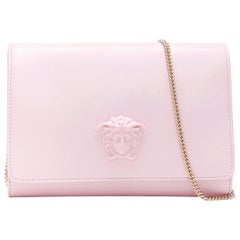 new VERSACE Palazzo Medusa light pink leather flap chain shoulder bag clutch