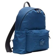 new VERSACE Palazzo Medusa navy blue nylon Greca pocket backpack bag