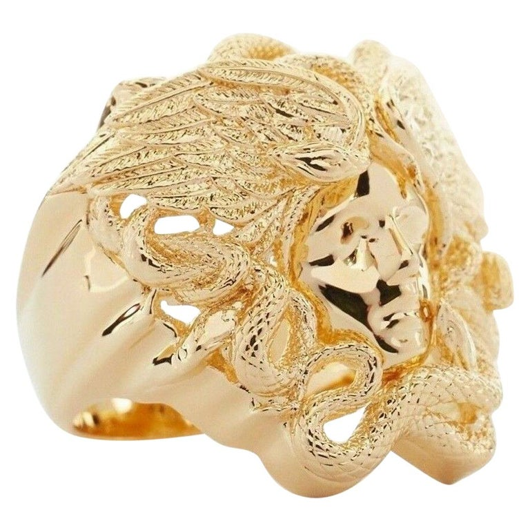 new VERSACE Palazzo Medusa snake head gold plated large cocktail ring 8.75 For Sale