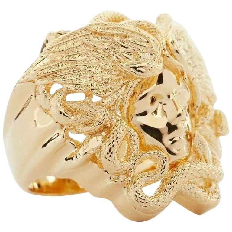 new VERSACE Palazzo Medusa snake head gold plated large rapper ring 9.5 For Sale