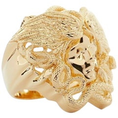 new VERSACE Palazzo Medusa snake head gold plated large statement rapper ring 10