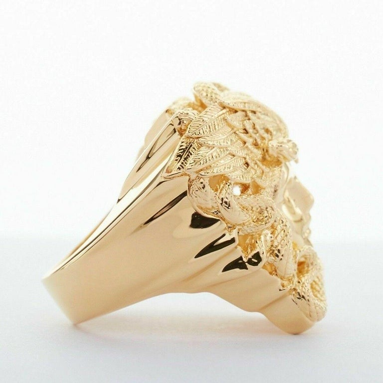 Women's new VERSACE Palazzo Medusa snake head gold plated large statement ring 8.25 For Sale