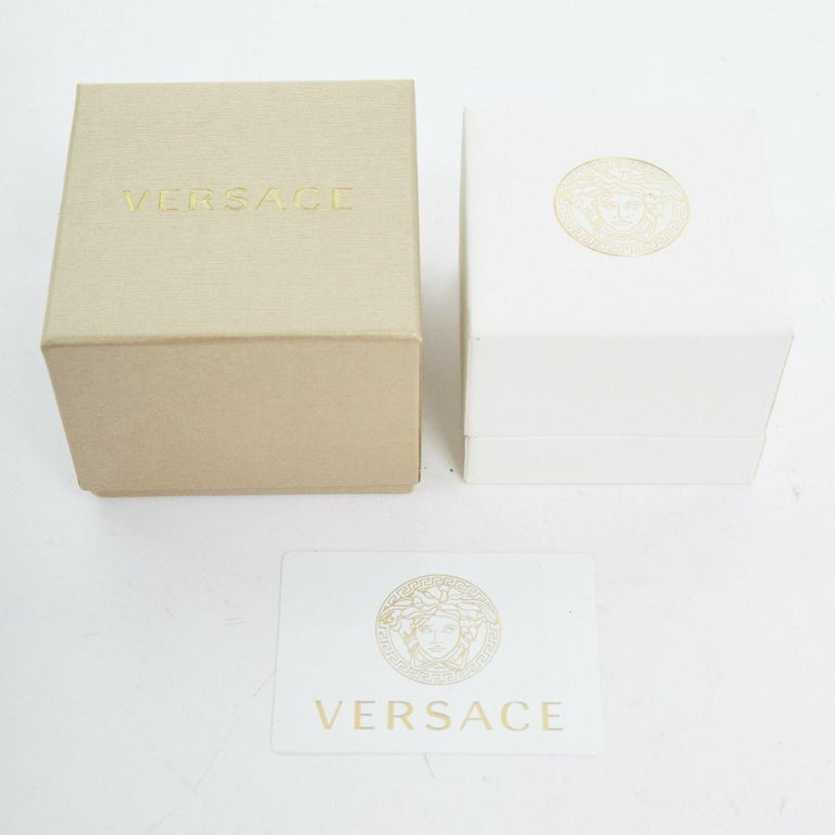 new VERSACE Palazzo Medusa snake head gold plated large statement ring 8.25 For Sale 2