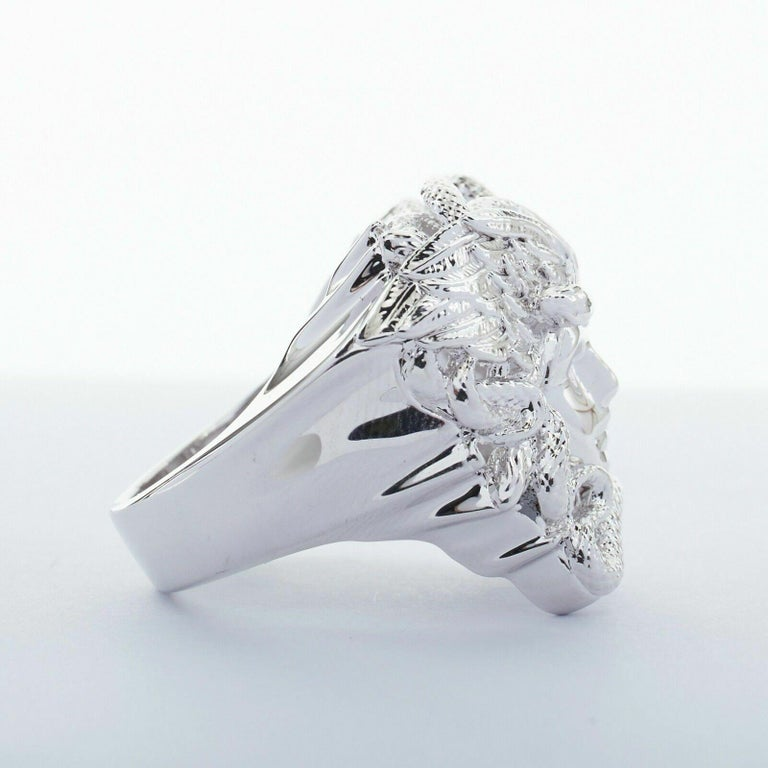 Women's new VERSACE Palazzo Medusa snake head silver large statement cocktail ring 10.75 For Sale