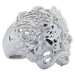 new VERSACE Palazzo Medusa snake head silver large statement cocktail ring 10.75