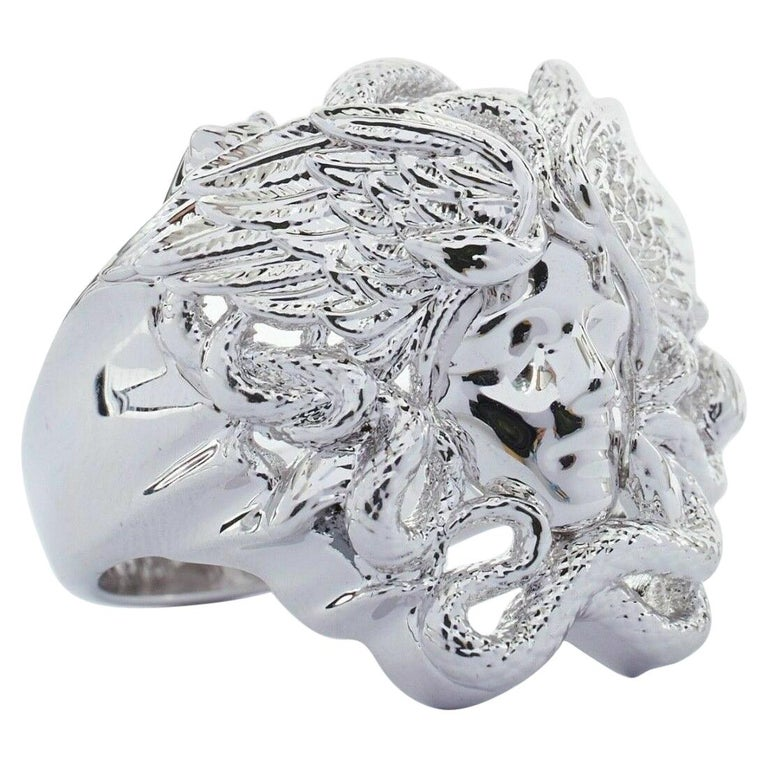 new VERSACE Palazzo Medusa snake head silver large statement cocktail ring 7.75 For Sale