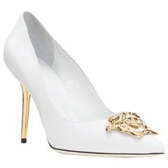 new VERSACE Palazzo Medusa white calf leather gold head metal heel pump EU39