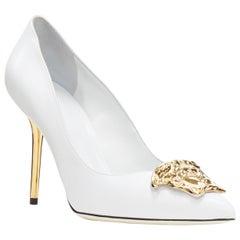 new VERSACE Palazzo Medusa white leather gold pointed toe metal heel pump EU39