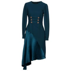 New Versace Petrol Blue Silk Military Inspired Dress