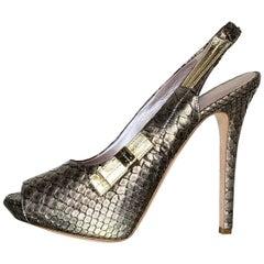 NEW VERSACE PEWTER PYTHON VANITAS PLATFORM PEEP TOE shoes