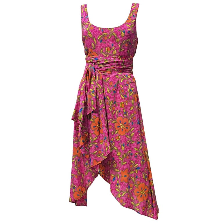 NEW VERSACE PINK FLORAL PRINT SILK Dress 44 - 10 For Sale