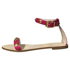 New VERSACE pink leather flat sandals 39 - 9