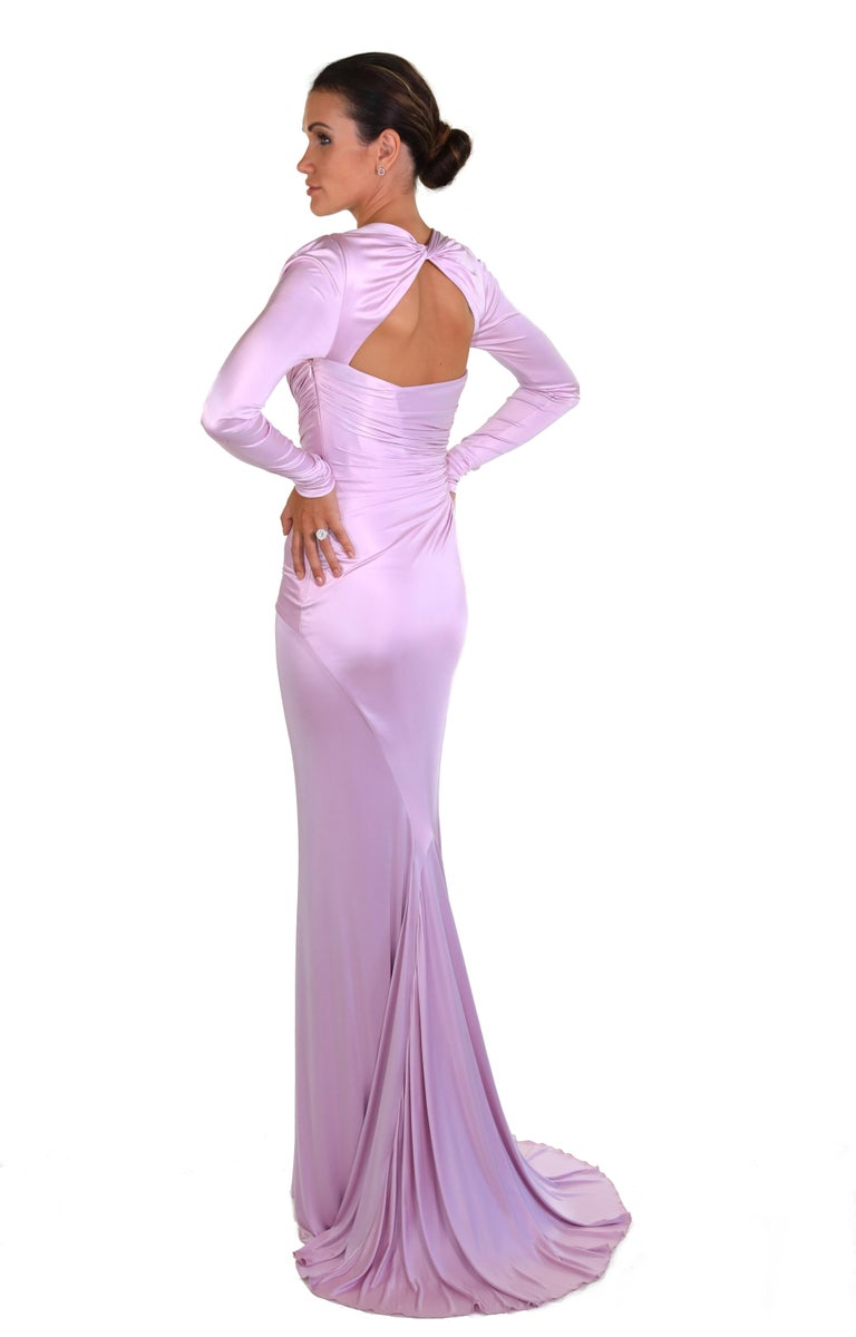 New Versace Pink Long-Sleeve Stretch-Jersey Gown 38 In New Condition For Sale In Montgomery, TX