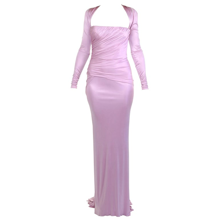 New Versace Pink Long-Sleeve Stretch-Jersey Gown 38 For Sale