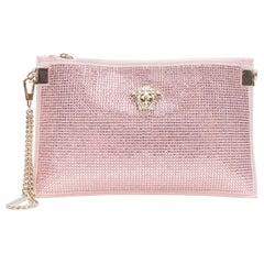 new VERSACE pink strass crystal gold Medusa chain wristlet clutch shoulder bag