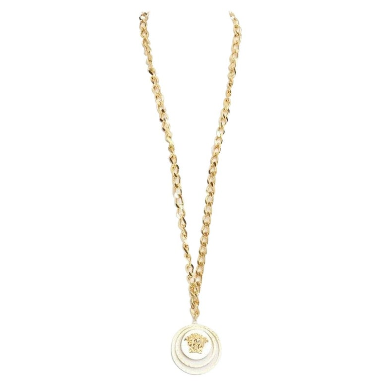 new VERSACE polished gold Medusa medallion triple halo chunky chain necklace For Sale