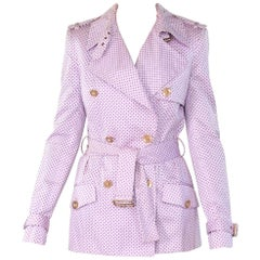 New VERSACE Polka Dot Pink Belted Trench Coat