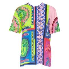 new VERSACE  Pop Foulard 100% cotton neon Medusa graphic print t-shirt top XXXL
