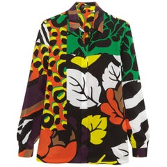 New VERSACE Printed 100% Silk Button Up Shirt