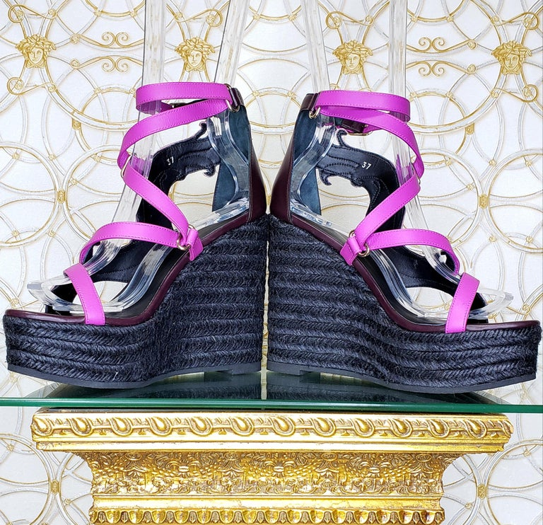NEW VERSACE PURPLE LEATHER and PINK LACE WEDGE SANDALS 37, 37.5, 38, 38.5, 39.5 For Sale 1