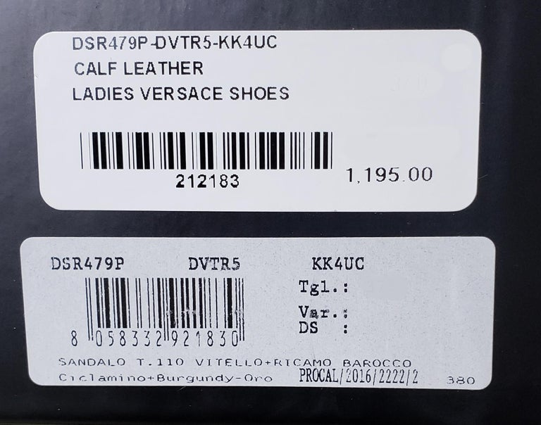 NEW VERSACE PURPLE LEATHER and PINK LACE WEDGE SANDALS 37, 37.5, 38, 38.5, 39.5 For Sale 4