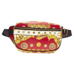 new VERSACE Rare Pig Medusa Medallion coin baroque print leather waist belt bag