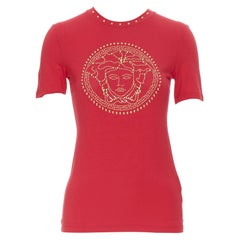 new VERSACE red cotton gold crystal stud embellished Medusa t shirt top IT38 XS