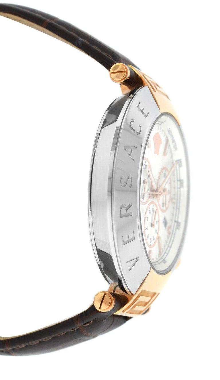 Modern New Versace Reve Steel Gold Tone XL Quartz Chrono Date Watch For Sale