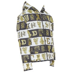 new VERSACE Reversible Baroque Alphabet black gold print quilted jacket IT56 3XL