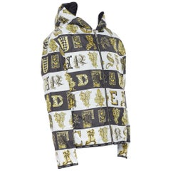 new VERSACE Reversible Baroque Alphabet gold black nylon quilted jacket IT58 4XL