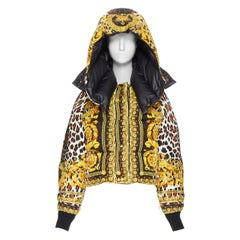 new VERSACE Reversible Wild Baroque leopard gold goose down padded jacket IT44 L