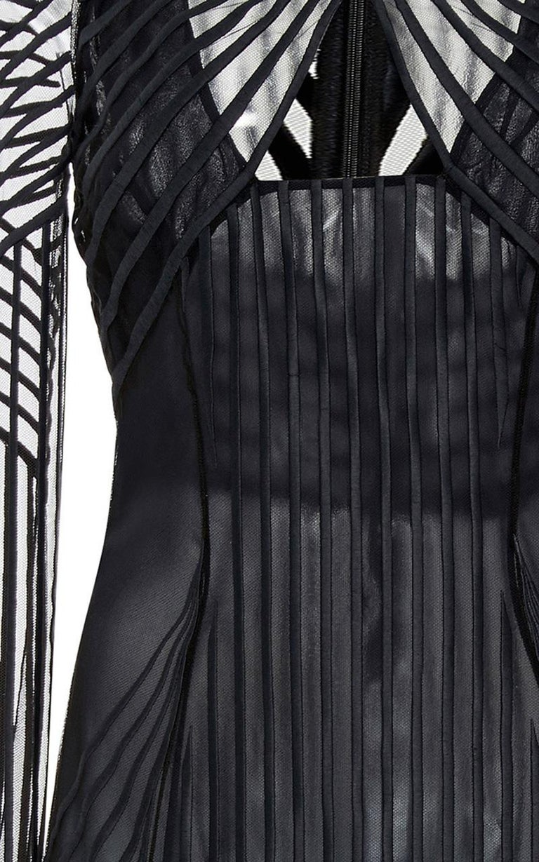 Black New Versace Ribbed Georgette Degrade Midi Dress  For Sale