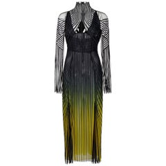 New Versace Ribbed Georgette Degrade Midi Dress