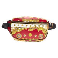 new VERSACE Royal Pig Medusa Medallion coin baroque print leather waist bag