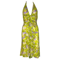 NEW Versace Ruched Rose Floral Print Silk Neckholder Dress as seen on Teri