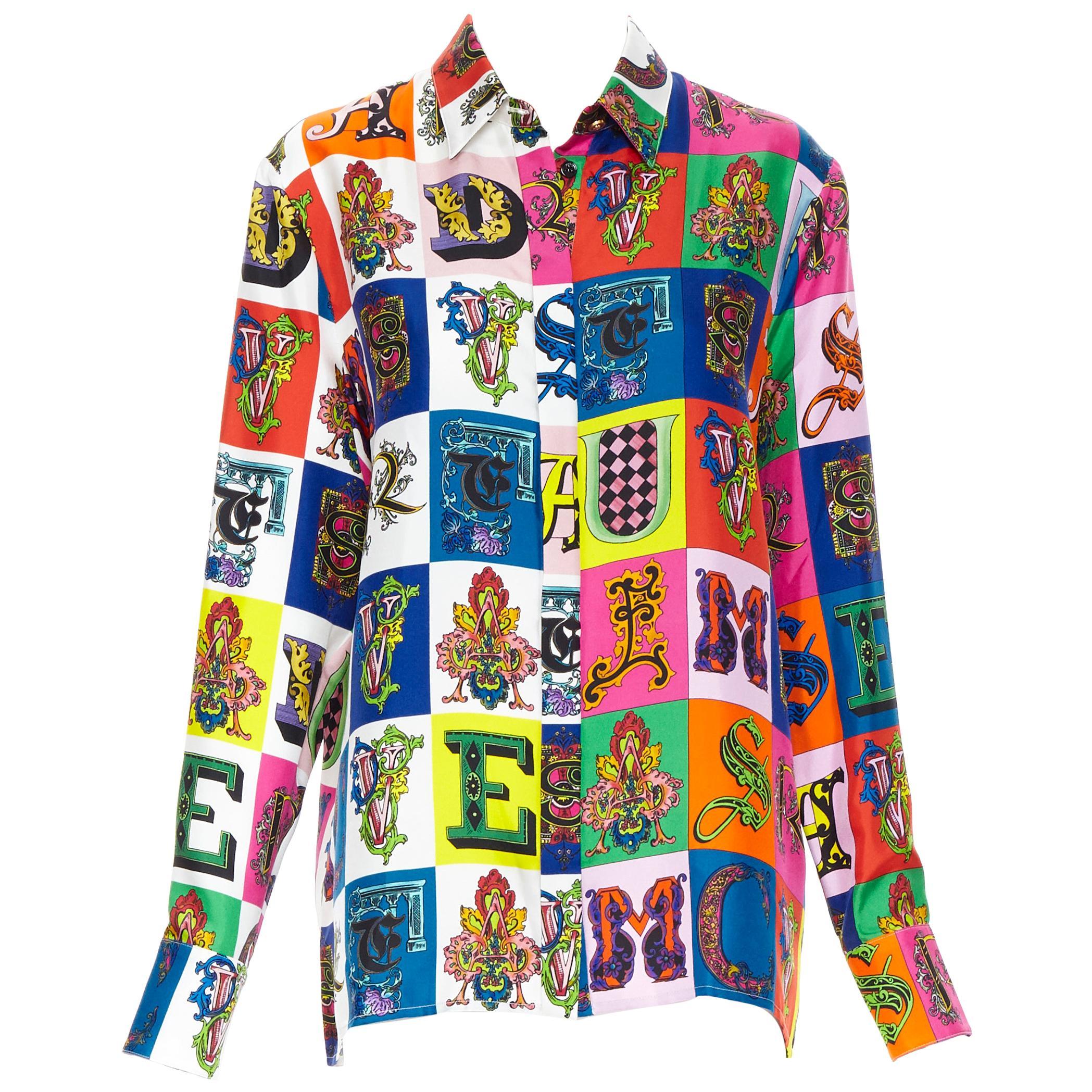 new VERSACE Runway 100% silk baroque alphabet Medusa button shirt IT42 M