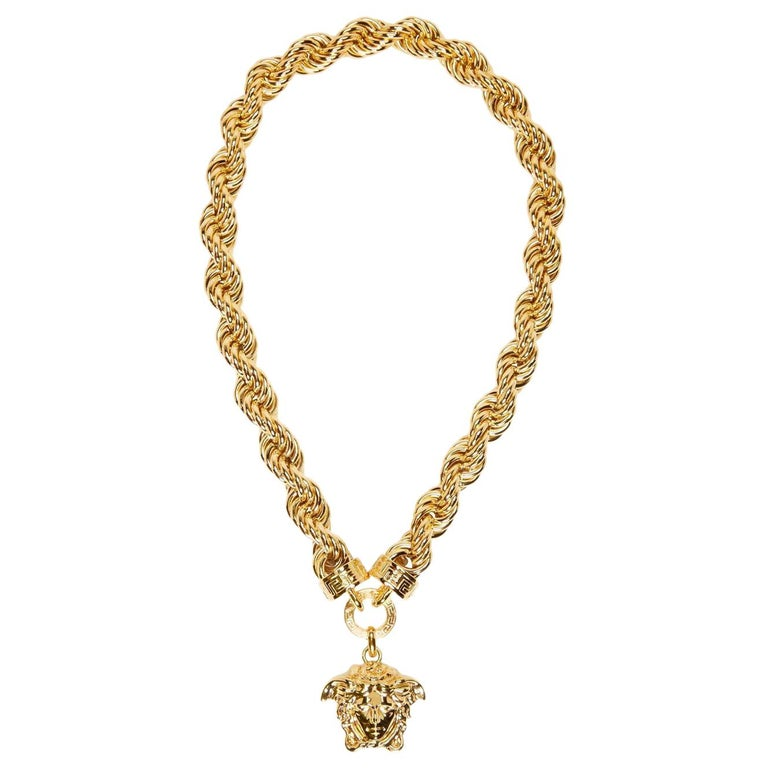 New Versace Runway 24k Gold Plated Medusa Chain Necklace As Seen