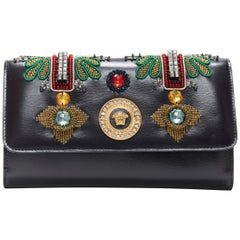 new VERSACE Runway black leather Byzantium Cross embellished wallet on chain bag