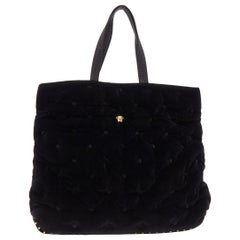 new VERSACE Runway Pillow Talk black velvet quilted foldover clutch tote bag