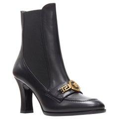 new VERSACE Runway Tribute black Medusa greca chain high heel loafer boots EU37
