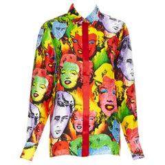 new VERSACE Runway Tribute pop art Marilyn Monroe James Dean siilk shirt IT42 M