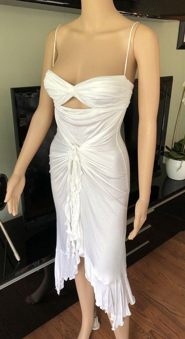 Gray New Versace S/S 2004 Runway White Cutout Dress