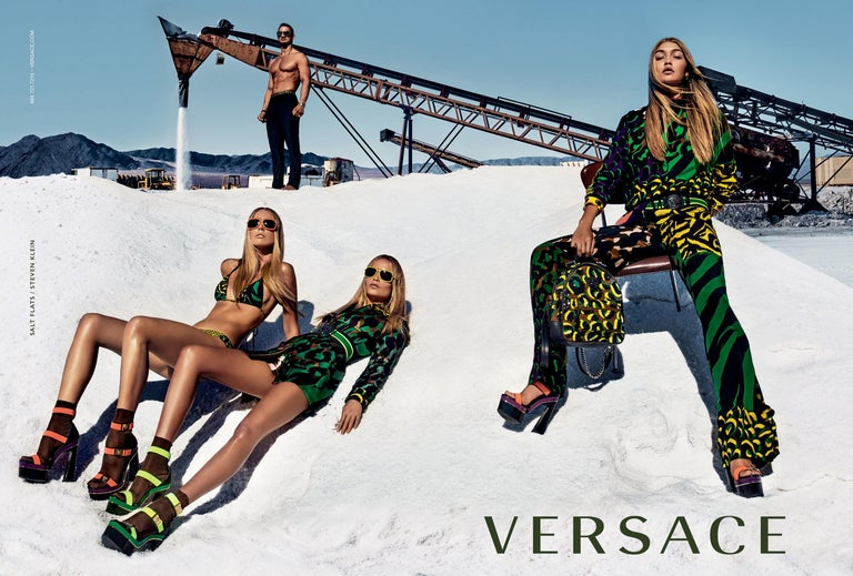 Brand New Stunning Versace Heels Runway Gigi Hadid Ad Platforms Olive Green Gold Versace Medusa Hardware Size: 36.5 Heel 6.25