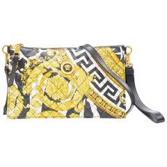 new VERSACE Savage Barocco gold black diamond leather zip clutch crossbody bag