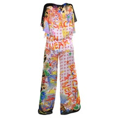 NEW VERSACE SEASHELL and GRAFFITI PRINT 100% SILK PANT SUIT Size 38