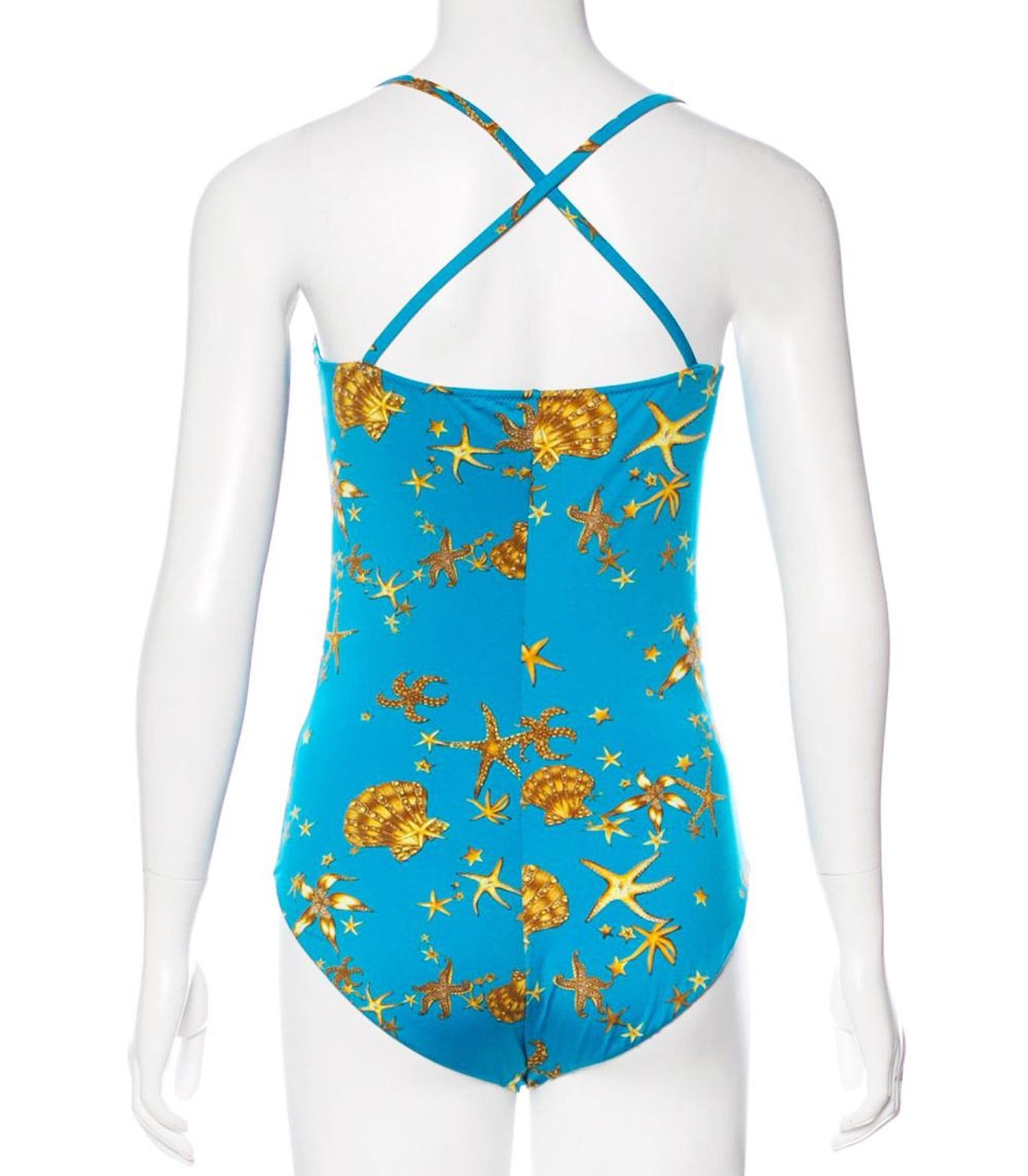 6445a6dc8a New Versace Seashell and Starfish Turquoise Yellow Swimsuit size 2 For Sale  at 1stdibs