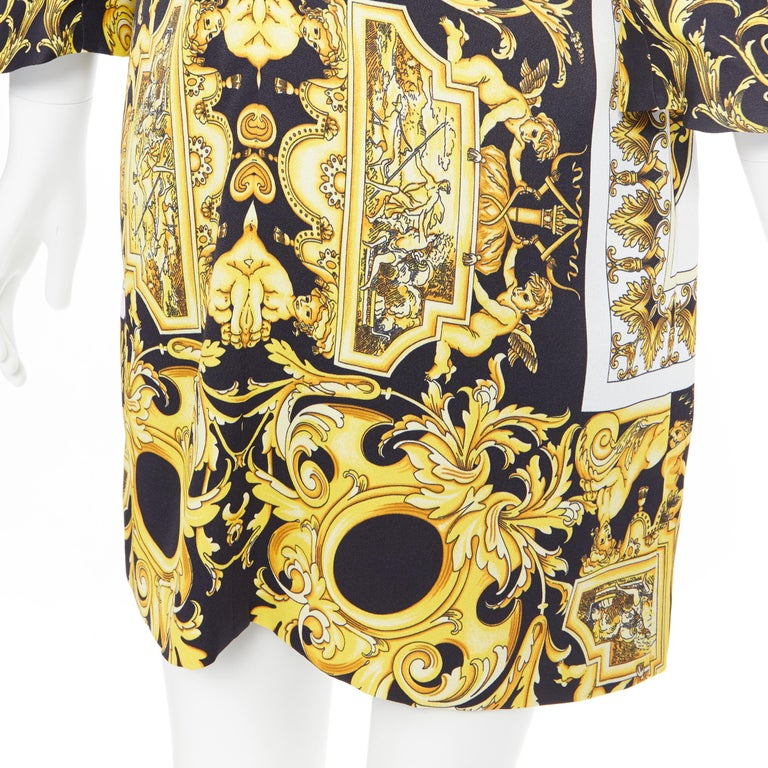 new VERSACE Signature Baroque Cherub Medusa printed viscose shift dress IT40 S For Sale 5
